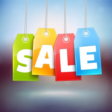 sale tags: Hanging Price Tags. Vector Sale labels