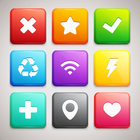 favorite colour: Set of Icons on colorful backgrounds