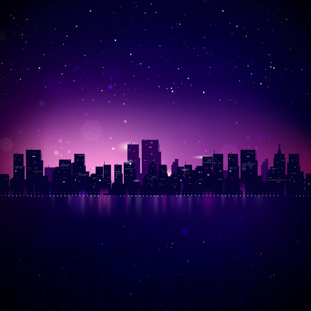 panoramic sky: Night City Skyline. Vector Cityscape Background