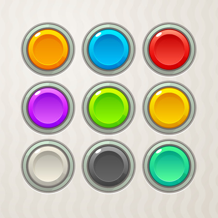 Colorful Game Buttons. Vector GUI elements for mobile games
