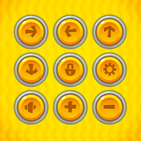 settings: Game Buttons with Icons Set 2. Vector GUI elements for mobile games