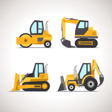 excavator: Car Flat Icon Set with Construction Equipment