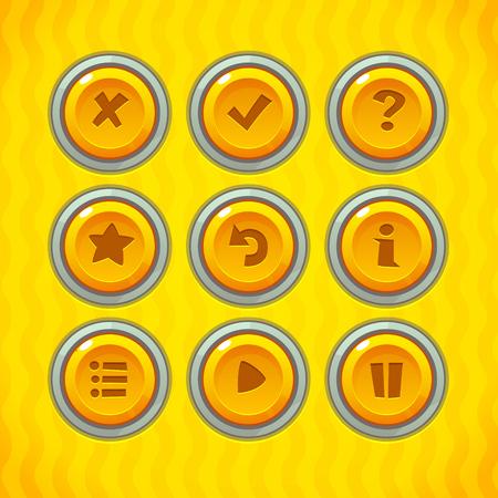 Spelknoppen Met Pictogrammen Set 2. Vector GUI-elementen voor mobiele spellen Stock Illustratie