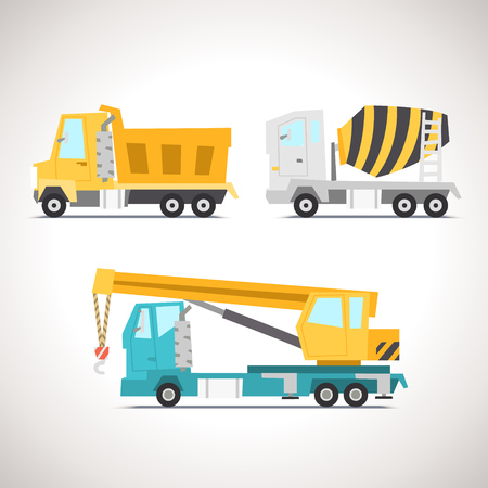 Car Flat Icon Set with Construction Equipment