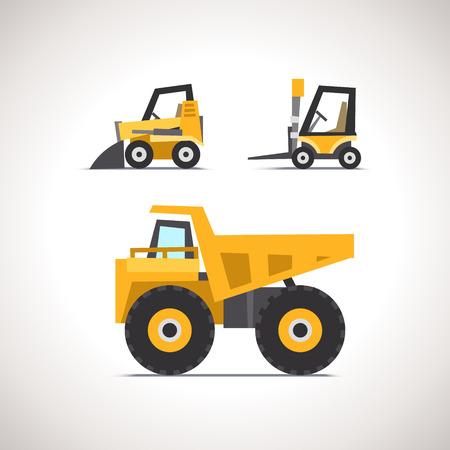 camion grua: Coche plana conjunto de iconos de maquinaria y equipo