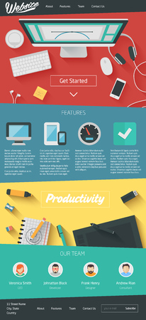 page site: Landing Page Website Flat Design. Vector One page site template Illustration