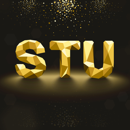u s: Vector Golden Lowpoly Font from S to U Illustration
