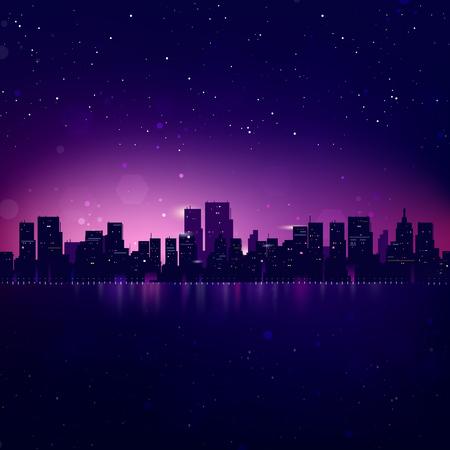 paisajes noche pareja: Noche horizonte de la ciudad. Vector de fondo del paisaje urbano Vectores