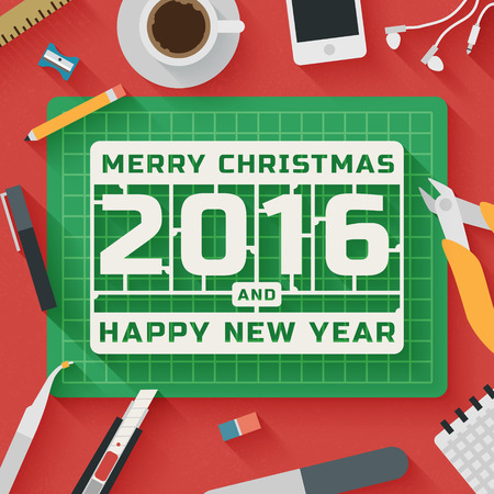 model kit: Trendy Flat Design Illustration: Merry Christmas and 2016 Happy New Year workplace. Icons set of plastic model kit work flow items, elements and gadgets