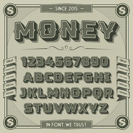 numera: Fuentes dinero de la vendimia con la sombra. Alfabeto retro 3D con elementos decorativos