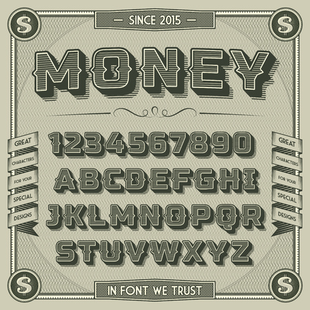 decorative: Vintage Money Font with shadow. Retro 3D Alphabet with decorative elements