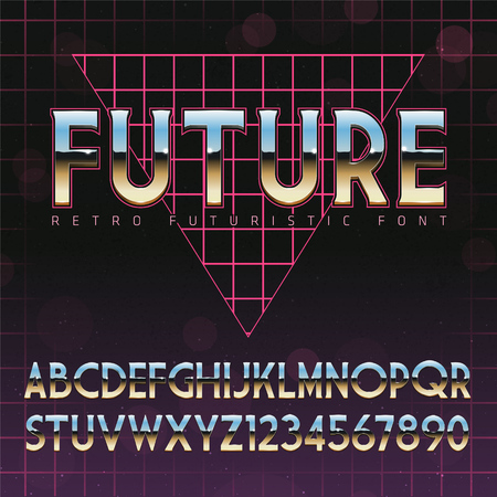 font: Shiny Chrome Alphabet in 80s Retro Futurism style. Vector font on cityscape background