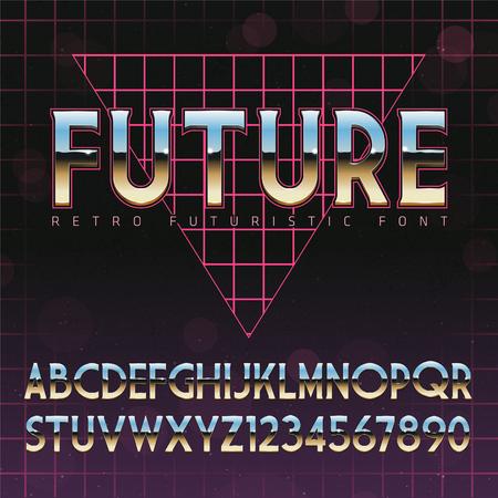 Shiny Chrome Alphabet in 80s Retro Futurism style. Vector font on cityscape background