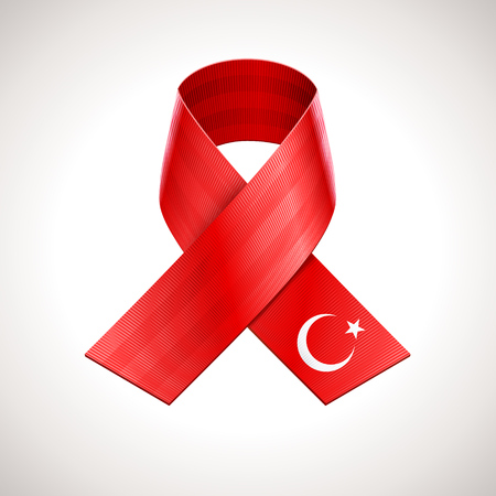 turkish flag: Turkey Flag Ribbon. Vector Turkish Patriotic Sign