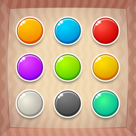 web design background: Colorful Game Buttons. Vector GUI elements for mobile games