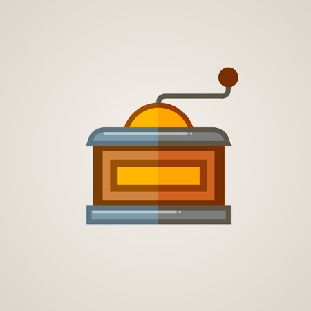 coffee mill: Coffee Mill Flat Icon. Vector illustration of vintage coffee grinder