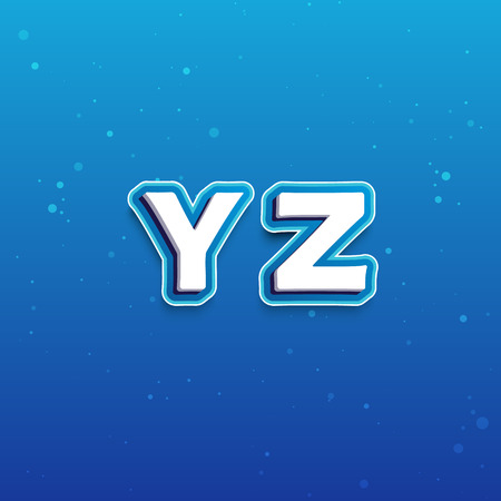school background: 3D Font in Cartoon style with letters from Y to Z. Vector Alphabet on blue background Illustration