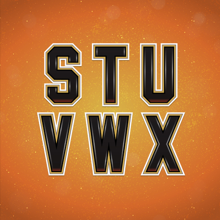 x sport: Sport Style Font from S to X. Vector Alphabet in College style