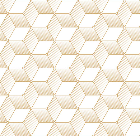 2d wallpaper: Retro Pattern with Golden Cubes. Vector seamless outline background