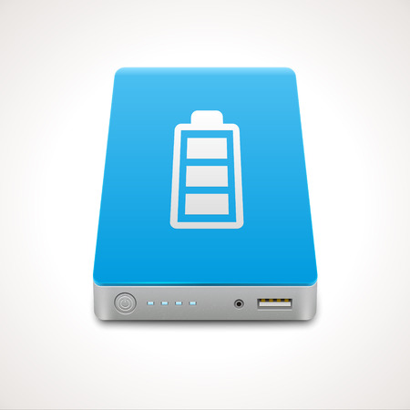 Portable Power Bank. Vector icon of a battery for charging mobile devices