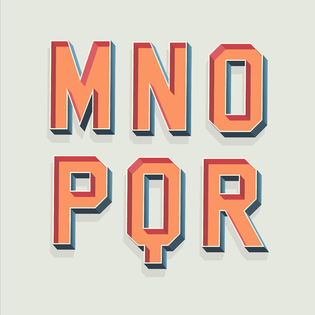 retro font: Vector Retro 3D Font with shadow. Vintage Alphabet from M to R