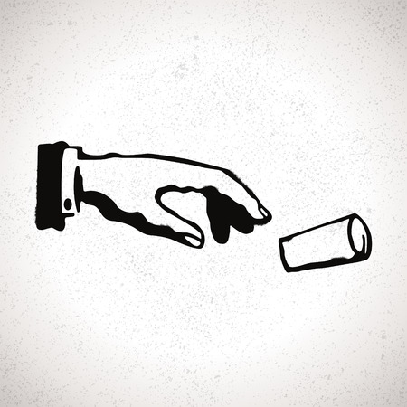 gestures: Black hand silhouette droppin garbage. Vector hand drawn sign in grunge style