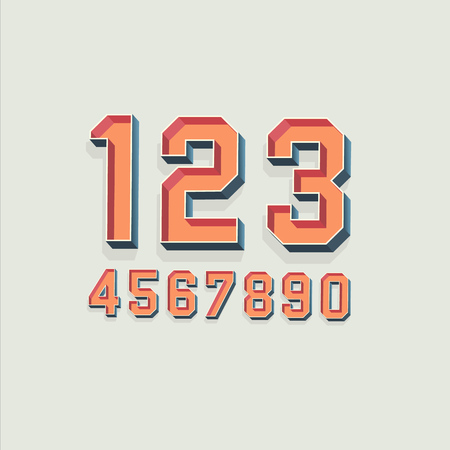 retro font: Vector Retro 3D Font with shadow. Vintage Numbers Illustration