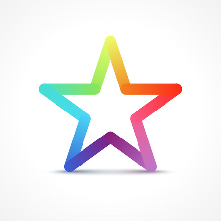 Colorful Star. Vector star icon logo concept made with colorful lines