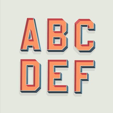 retro font: Vector Retro 3D Font with shadow. Vintage Alphabet from A to F