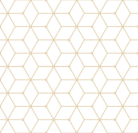 fashion design: Retro Pattern with Golden Squares. Vector seamless outline background Illustration