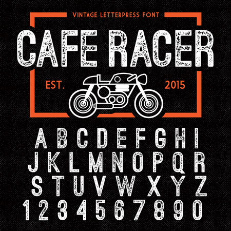 press: Hand Made Letterpressed Font in retro style. Vintage textured grunge alphabet with scratches. Vector illustration with cafe racer bike