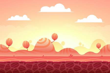 2d wallpaper: Game Background made from seamless endless elements. Vector assets and layers for mobile games Illustration