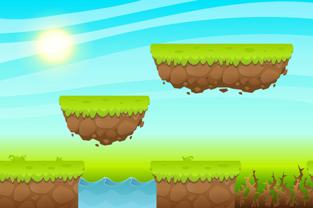 assets: Game Background made from seamless endless elements. Vector assets and layers for mobile games Illustration