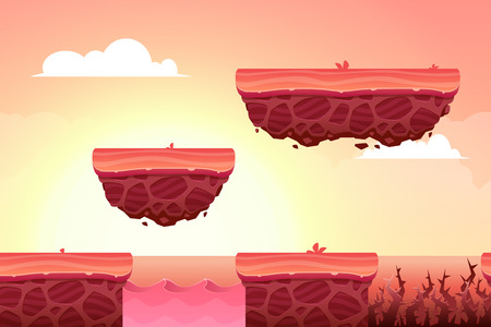 Game Background made from seamless endless elements. Vector assets and layers for mobile games  イラスト・ベクター素材