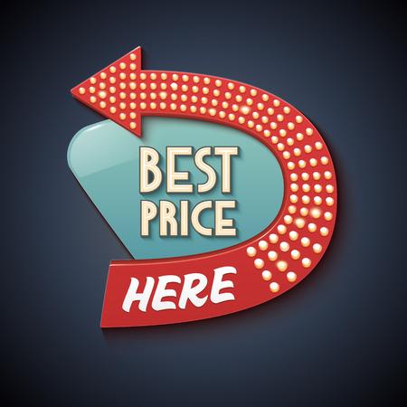 retro sign: Retro Sign with Arrow. Vector Best Price banner, billboard, signboard