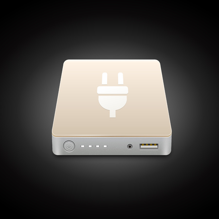 emergency icon: Portable Power Bank. Vector icon of a battery for charging mobile devices