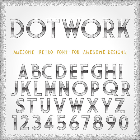 futurism: Dot Work Alphabet in 80s Retro Futurism style. Vector tattoo style font