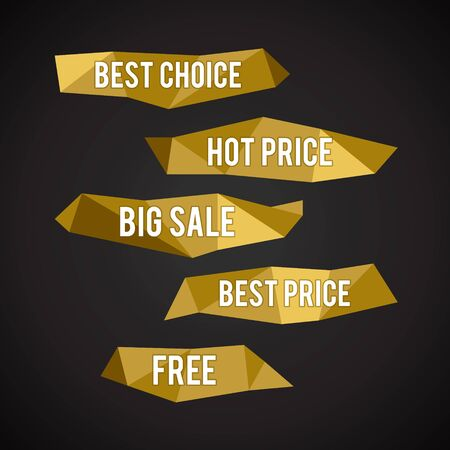special price: Vector Golden Low Poly labels Illustration