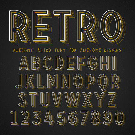 retro font: Vector Retro Font with shadow. Vintage Alphabet on grunge background Illustration