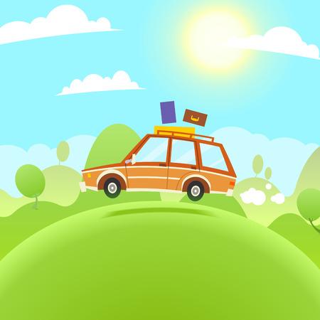 Summer Travel Illustration. Vector flache Comic-Auto Vektorgrafik
