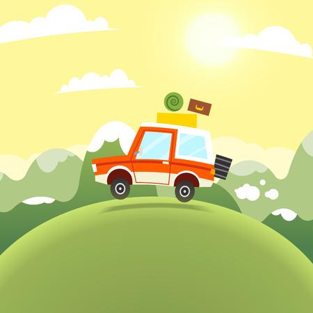 cartoon mountain: Mountain Travel Illustration. Vector flat cartoon car