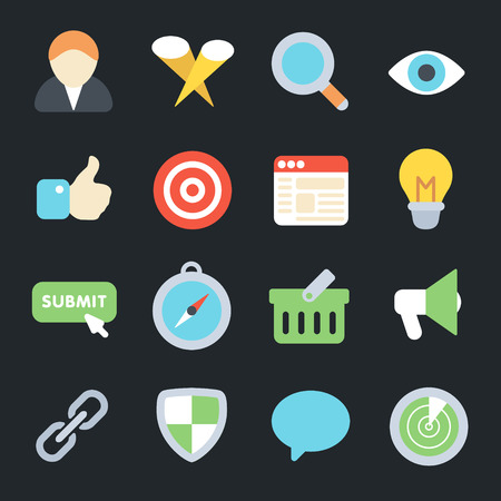 SEO Flat Icons 로열티 무료 사진, 그림, 이미지 그리고 스톡포토그래피. Image 53144973. - 웹