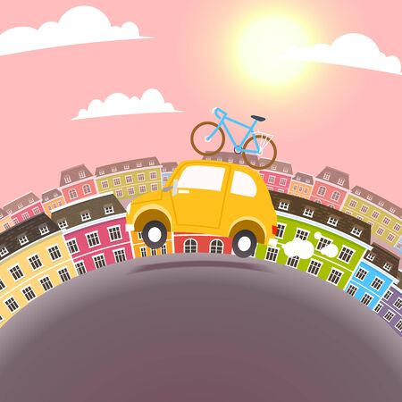 family fun: Town Travel Illustration. Vector flat cartoon car