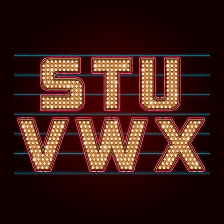 typeface: Retro Light Bulb Font realistic lamps alphabet from S to X