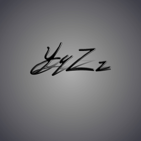 latex: Font made from latex. Glossy vintage alphabet with shadow from Y to Z