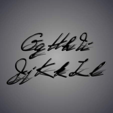 Font made from latex. Glossy vintage alphabet with shadow from G to L