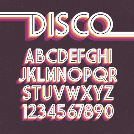 de 80 retro de la fuente. alfabeto discoteca Ilustración de vector