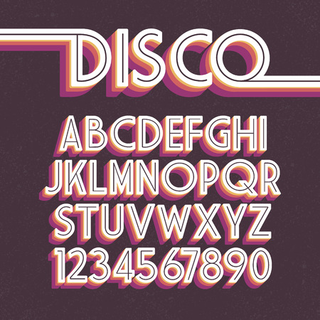 80's Retro Font. disco alphabet Illustration