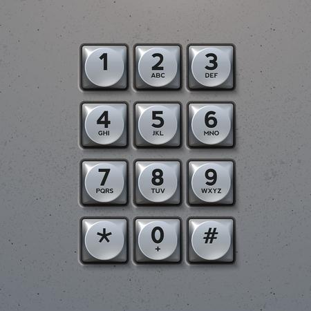 Metal Keypad. Phone keypad buttons template