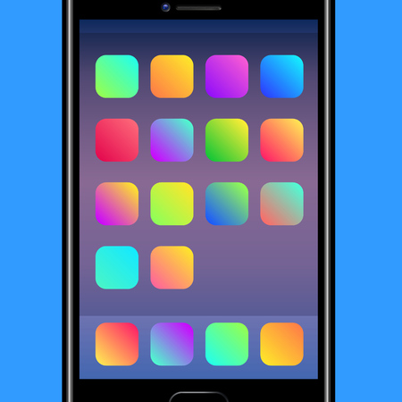 Colorful Backgrounds for Mobile Application Icons. Vector illustration with app vivid gradients